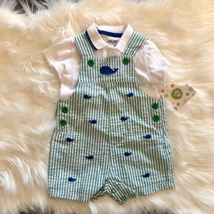 NWT Little Me Whale Overalls 6 months